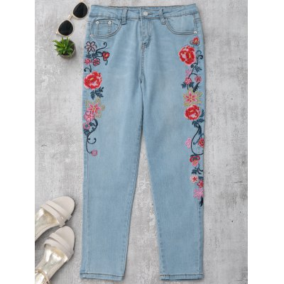 Floral Embroidered Skinny Pencil Jeans