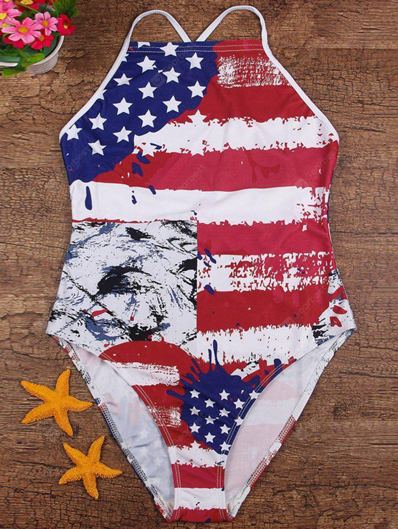Cross Back American Flag Patriotic Swimsuit
