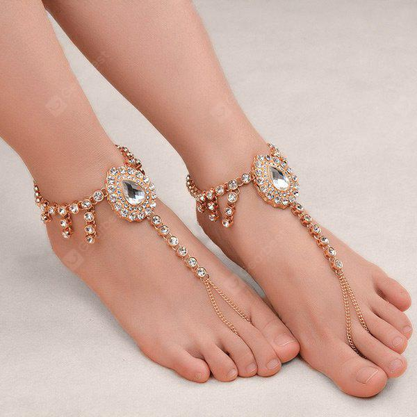 1PC Faux Gem strass Teardrop Escravo Anklet