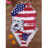 Cross Back American Flag Patriotic Swimsuit - MULTICOLORE