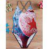 3D Print Cross Back One-Piece Swimsuit - RED