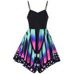 Butterfly Print Lace Up Slip Dress - COLORMIX