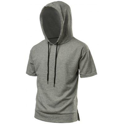 Buy GRAY Side Slit High Low Hooded Tee for $25.59 in GearBest store