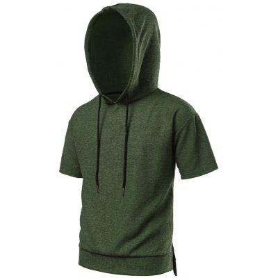 Buy BLACKISH GREEN Side Slit High Low Hooded Tee for $25.59 in GearBest store