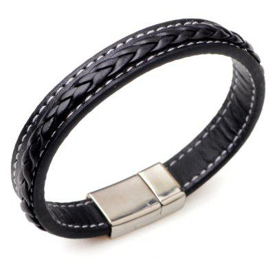 Faux Leather Braid Titanium Steel Bracelet