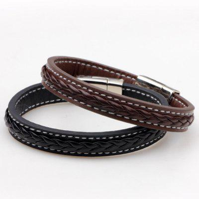 Faux Leather Braid Titanium Steel BraceletMens Jewelry<br>Faux Leather Braid Titanium Steel Bracelet<br><br>Chain Type: Leather Chain<br>Gender: For Men<br>Length: 21CM<br>Package Contents: 1 x Bracelet<br>Shape/Pattern: Others<br>Style: Classic<br>Weight: 0.0400kg