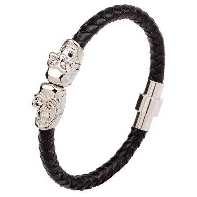 Double Skulls Faux Leather Magnetic Clasp Bracelet