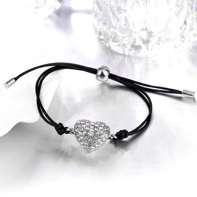 Artificial Leather Rope Rhinestone Heart Bracelet