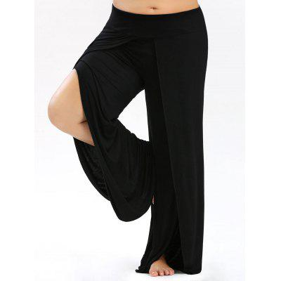 Buy BLACK 5XL Plus Size Palazzo Pants with High Split for $23.99 in GearBest store