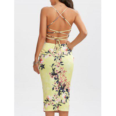 Lace-Up Bodycon Floral Slip Dress