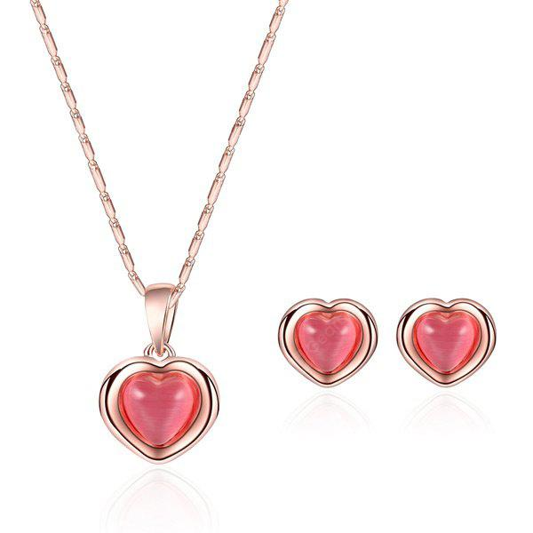 ROSE GOLD Heart Gold Plated Jewelry Set