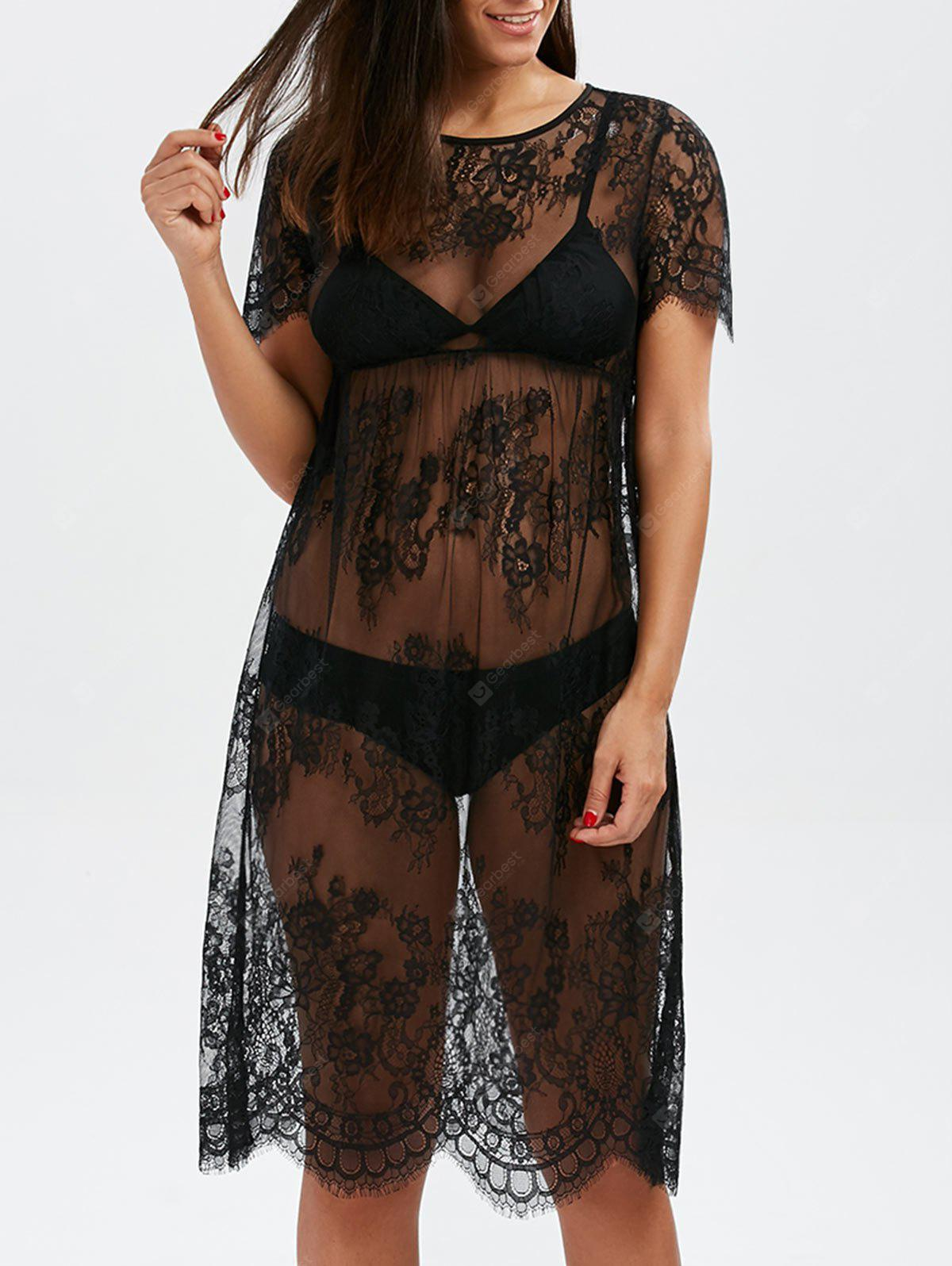 Floral Scalloped Lace Long Tunic Cover-Ups Dress