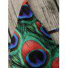 Halter Peacock Feather Strappy Bathing Suit - COLORMIX