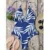 Halter Leaf Print Strappy One-Piece Swimsuit - BLUE