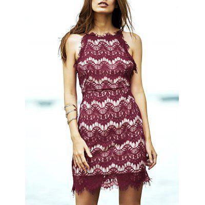 Stylish Spaghetti Straps Red Lace Women's Dress