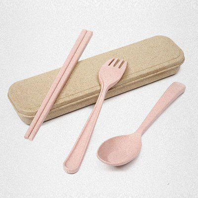 Buy PINK Healthy Wheat Straw 3 PCS Creative Tableware Set for $5.14 in GearBest store