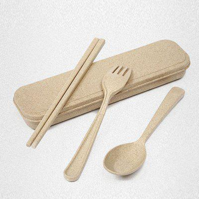 Buy BEIGE Healthy Wheat Straw 3 PCS Creative Tableware Set for $5.14 in GearBest store