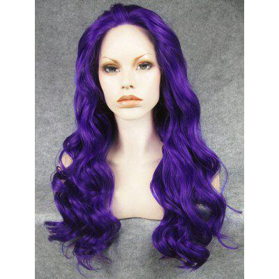 Fashion Fluffy Charming Long Wavy Deep Purple Heat Resistant Synthetic Wig For Women