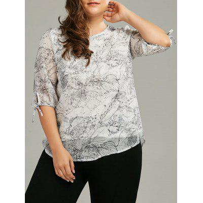 Buy GREY WHITE 3XL Plus Size Chiffon Printed Self-Tie Flowy Top for $23.12 in GearBest store