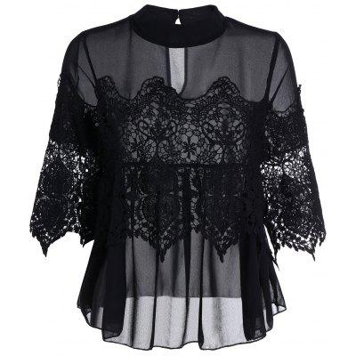 Lace Insert See Through Chiffon Top