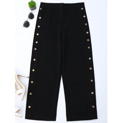 Buttons Side High Waisted Gaucho Pants