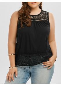 Back Slit Lace Trim Plus Size Sleeveless Top