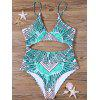 Tribal Cut Out Padded One-piece Swimsuit - GREEN
