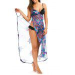 Swimsuit Fishnet Cover Up Dress with Tropical Butterfly - COR MISTURA