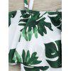 Tropical Off Shoulder Flounce Print Swimsuit - WHITE AND GREEN
