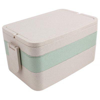 Wheat Straw Portable Three Layers Large Capacity Square Lunch Box