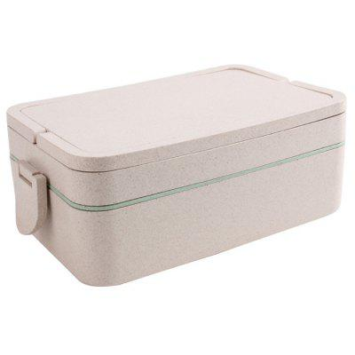 Wheat Straw Double Layers Large Capacity Portable Square Lunch Box