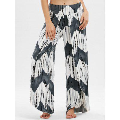 Buy COLORMIX XL High Waisted Zigzag Slit Palazzo Pants for $22.29 in GearBest store