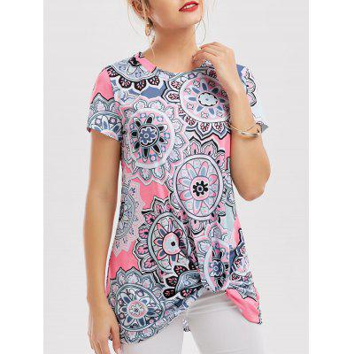 Longline Floral Knotted T-Shirt