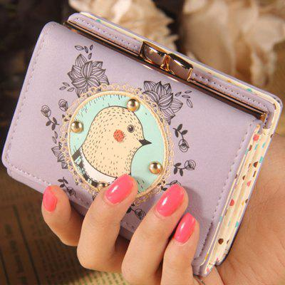 Cartoon Applique Tri Fold Wallet