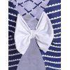 Stripe Criss Cross Swimsuit with Bowknot - BLUE