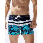 Drawstring Stripe Florals Print Panel Board Shorts - COLORMIX
