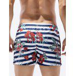 Floral and Striped Print Hawaiian Board Shorts - COLORMIX