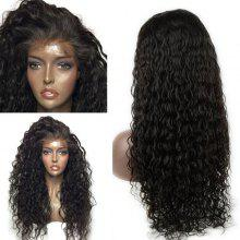 Dyed Perm Long Deep Side Part Water Wave Lace Front Human Hair Wig