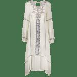 Stylish Scoop Neck Lantern Sleeve Cut Out Embroidery Women's Dress deal