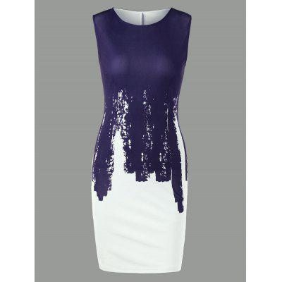 Buy PURPLISH BLUE 2XL Sleeveless Two Tone Pencil Dress for $16.37 in GearBest store