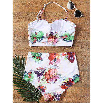 Flower Printed Halter High Waisted 50s BikiniLingerie &amp; Shapewear<br>Flower Printed Halter High Waisted 50s Bikini<br><br>Bra Style: Padded<br>Elasticity: Elastic<br>Gender: For Women<br>Material: Nylon, Polyester, Spandex<br>Neckline: Halter<br>Package Contents: 1 x Crop Top  1 x Briefs<br>Pattern Type: Floral<br>Placement Print: No<br>Support Type: Underwire<br>Swimwear Type: Bikini<br>Waist: High Waisted<br>Weight: 0.2000kg