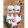 Flower Printed Halter High Waisted 50s Bikini - WHITE