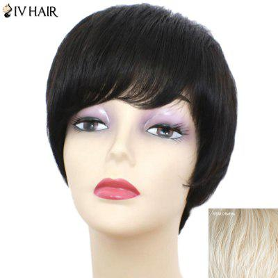 Siv Hair Short Oblique Bang Glossy Straight Human Hair Wig