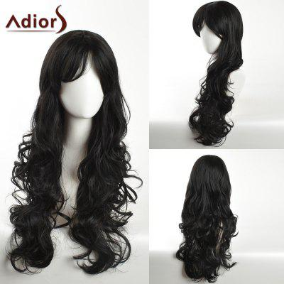 Buy BLACK Adiors Long Side Bang Layered Curly Synthetic Wig for $19.92 in GearBest store