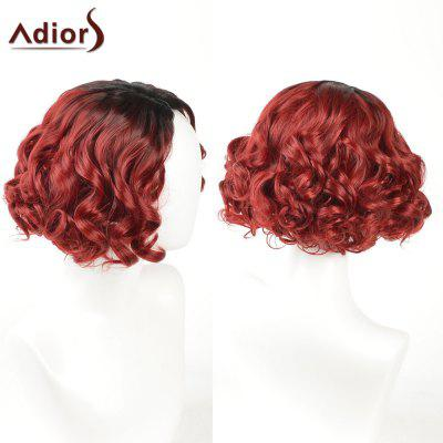 Buy BLACK AND RED Adiors Short Side Part Shaggy Layered Curly Ombre Synthetic Wig for $17.20 in GearBest store