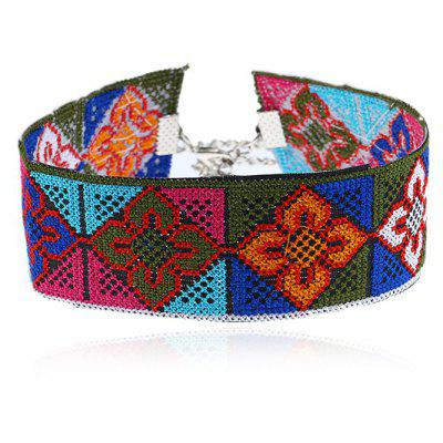 Geometric Flower Embroidery Choker Necklace
