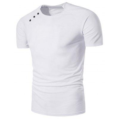 Buy WHITE L Button Design Stand Collar Raglan Sleeve T-shirt for $13.54 in GearBest store