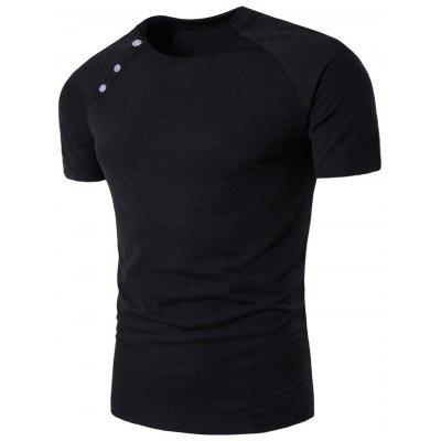 Buy BLACK 2XL Button Design Stand Collar Raglan Sleeve T-shirt for $13.54 in GearBest store