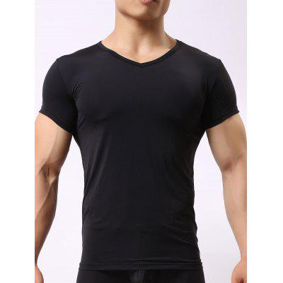 Buy BLACK S V Neck High Stretch Tee for $10.42 in GearBest store