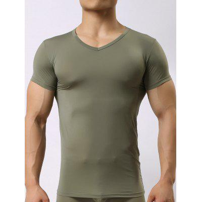 Buy ARMY GREEN L V Neck High Stretch Tee for $10.42 in GearBest store